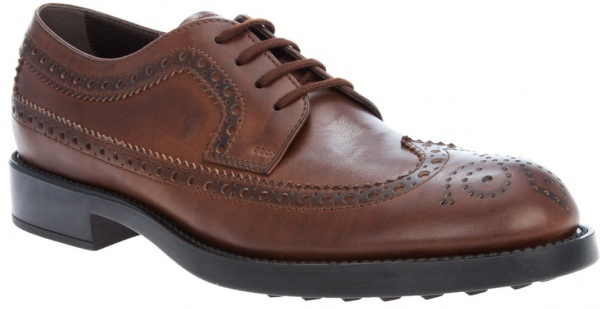 Tods Brown Leather Wingtip Derby 1 Tods Brown Leather Wingtip Derby
