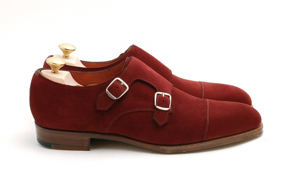 DSC 00212 Edward Green MTO Burgundy Suede Double Monk