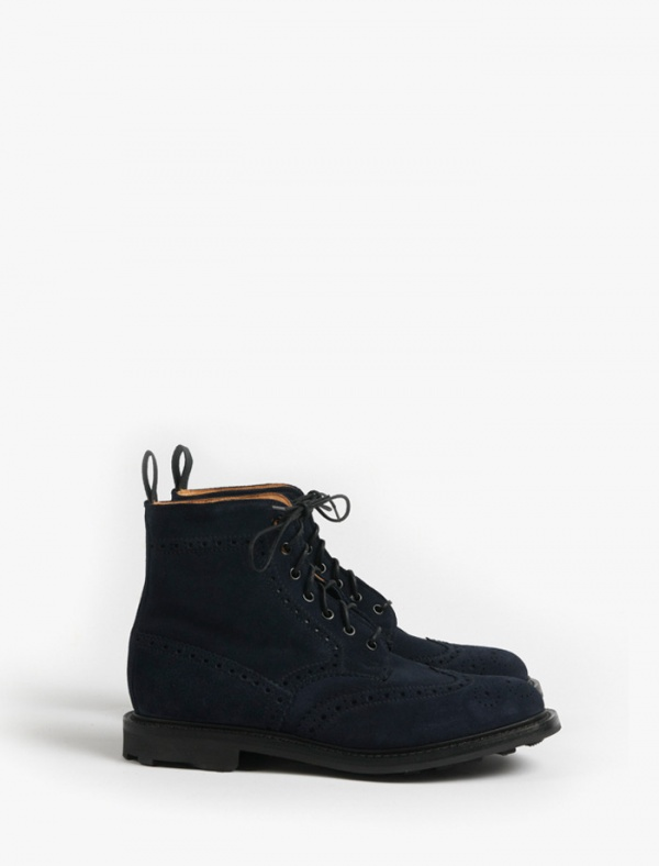 navy Mark McNairy Navy Blue Suede Brogue Boot