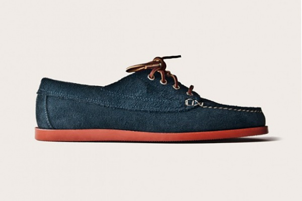 oak street bootmakers navy suede red brick sole trail oxford 1 Oak Street Bootmakers Navy Suede Red Brick Sole Trail Oxford